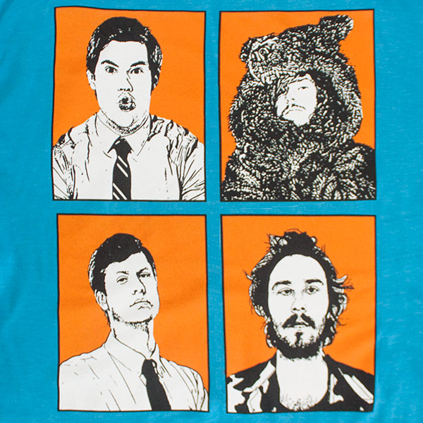 Teal Workaholics Four Faces Men's Tee Shirt