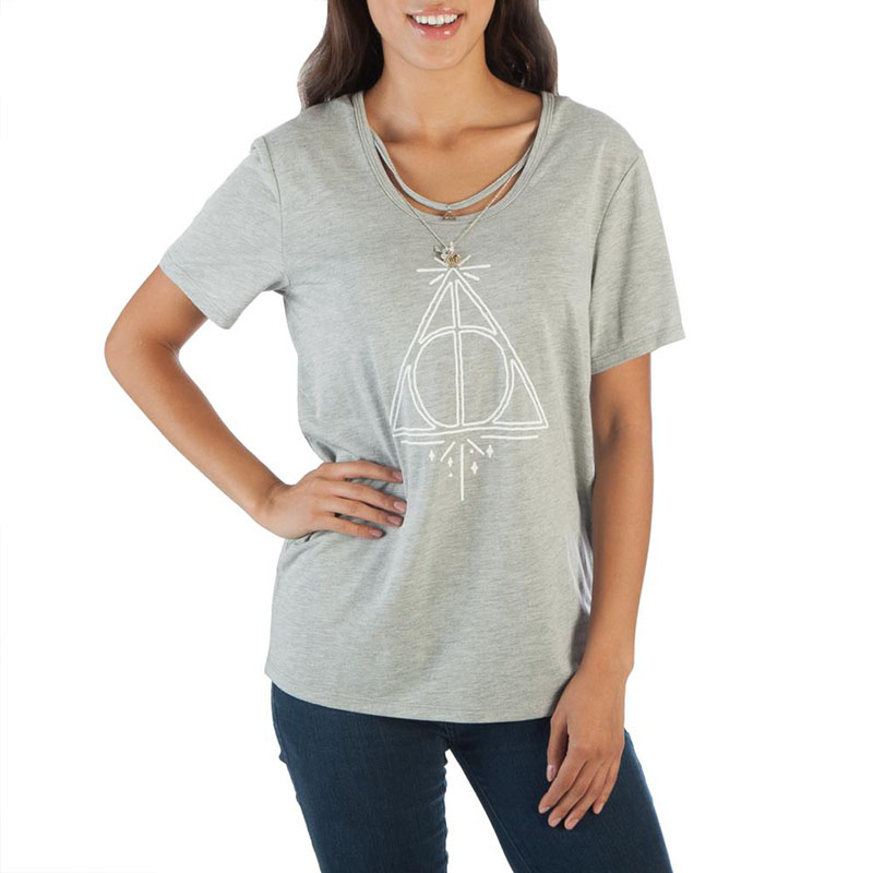 Harry Potter Deathly Hallows Women's Interchangeable Charms Tee Shirt