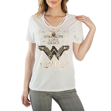 Wonder Woman Ladies White Interchangeable Charms T-Shirt