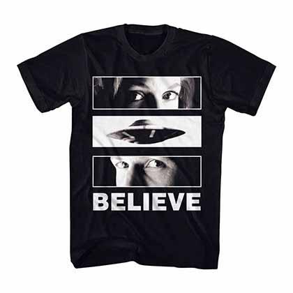 X-Files Believe UFO Eyes Black T-Shirt