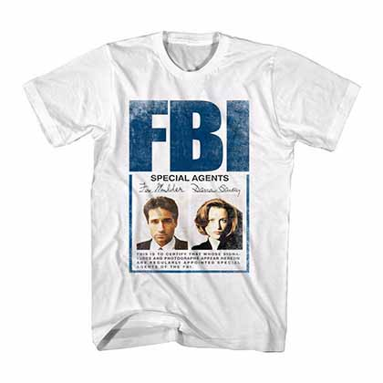 X-Files Mulder Scully Badge White T-Shirt