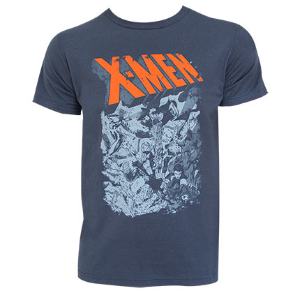 X-Men Men's Grey Group Fight T-Shirt