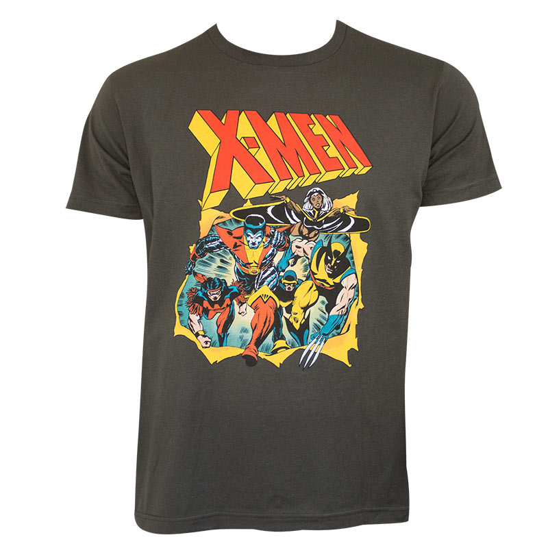 This X-Men t-shirt features some of the most popular Mutants. The shirt shows Cyclops, Wolverine, Storm, Jean Grey, Colossus, Banshee, and Beast. The colorful image on this shirt is designed to look like the cover of another exciting adventure of the Uncanny X-Men comics.5/5(3).