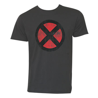 X-Men Men's Grey Distressed Logo T-Shirt