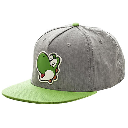 Super Mario Bros. Yoshi Rubber Logo Gray Adjsutable Snapback Hat