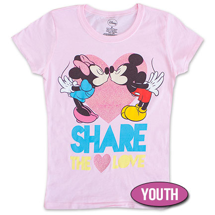 Mickey & Minnie Share The Love Youth Girls 7-16 Tee Shirt - Pink