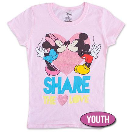 Disney Mickey & Minnie Share The Love Youth Girls 7-16 TShirt - Pink