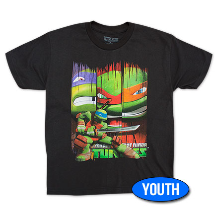 TMNT Strip Faces Boys 8-20 Tee - Black