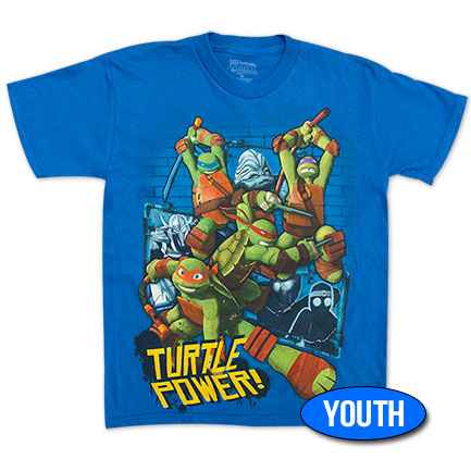 "TMNT ""Turtle Power"" Youth Boys 8-20 Tee - Royal Blue"