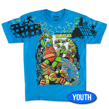 TMNT Foot Clan Youth Boys 8-20 TShirt - Blue
