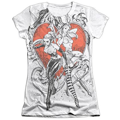 Zenescope Bw Heart White Juniors Sublimation T-Shirt