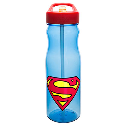 Superman Large Plastic Water Bottle & Straw