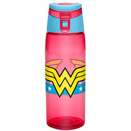 Wonder Woman Pink Travel Water Bottle With Loop