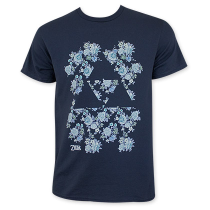 Nintendo Men's Zelda Floral Print Triforce T-Shirt