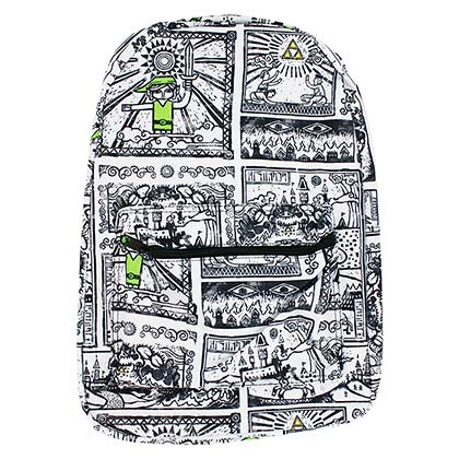 The Legend Of Zelda White Game Drawings Sublimated Backpack