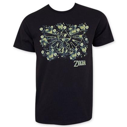 Nintendo Zelda Floral Print Black Tee Shirt