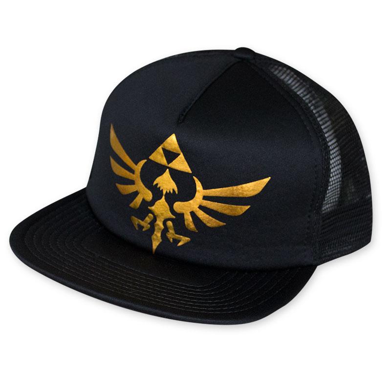 b0ef0621 The Legend Of Zelda Men's Black Gold Foil Triforce Trucker Hat ...
