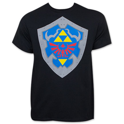 Legend Of Zelda Shield Black T-Shirt