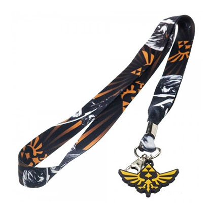 Legend Of Zelda Black And Orange Skyward Sword Keychain And Lanyard