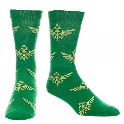 Zelda Men's Triforce Logo Green Socks