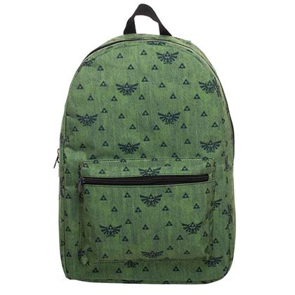 Nintendo The Legend Of Zelda Triforce Pattern Green Backpack