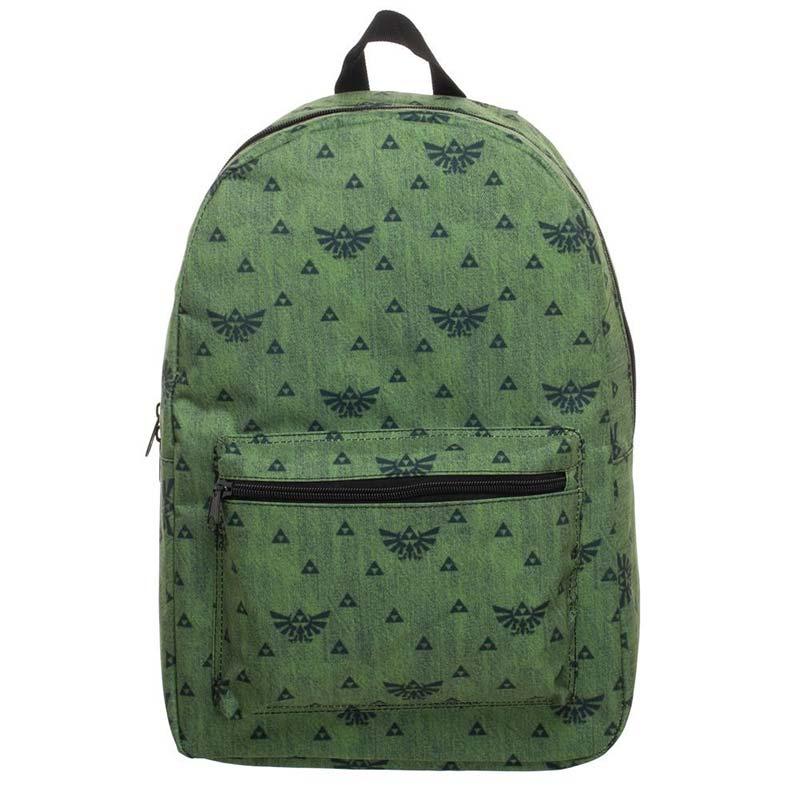 Nintendo The Legend Of Zelda Triforce Pattern Green Backpack