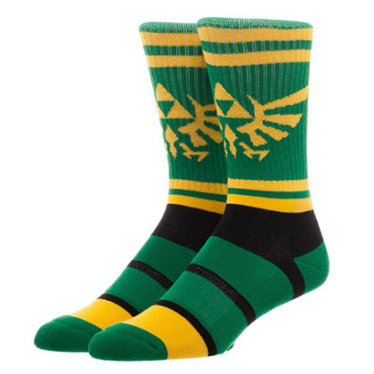 Legend Of Zelda Men's Green Striped Crew Socks