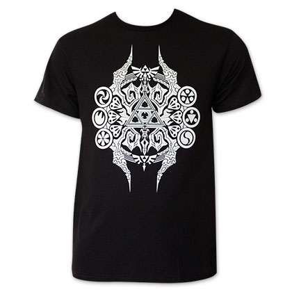 Zelda White Triforce Logo Men's Black T-Shirt