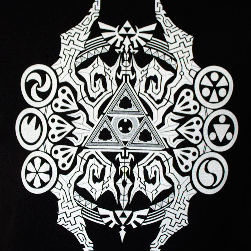 Zelda Men's Black Artistic Triforce Tee Shirt