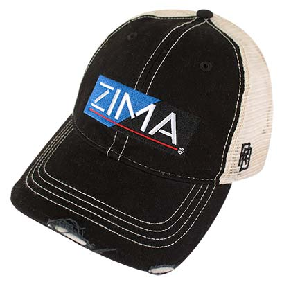 Zima Clearmalt Logo Retro Brand Mesh Black Trucker Hat