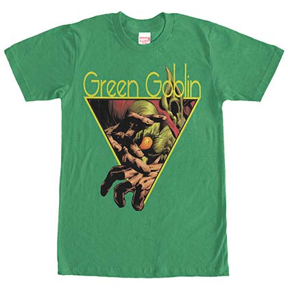 Spiderman Green Goblin Triangle Green Mens T-Shirt