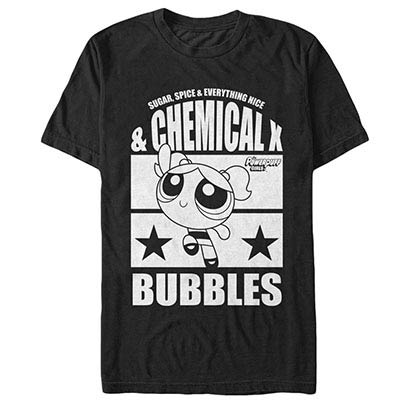 Power Puff Girls Chemical X Bubbles Black T-Shirt