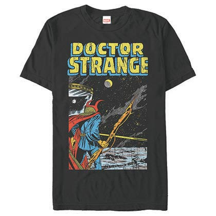 Dr. Strange Into Space Black Mens T-Shirt