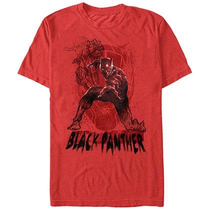 Black Panther Sketch Panther Red Mens T-Shirt