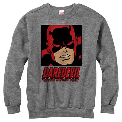 Daredevil Man Without Fear Gray Mens Long Sleeve T-Shirt
