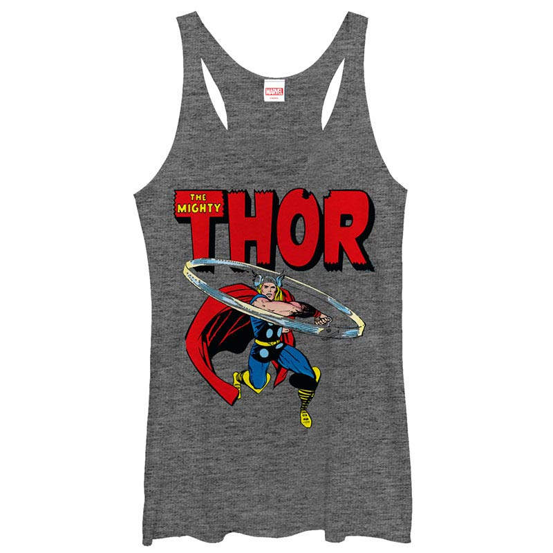 Thor Throw Gray Juniors Racerback Tank Top