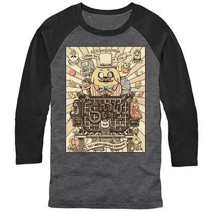 Adventure Time Show Time Gray Baseball T-Shirt