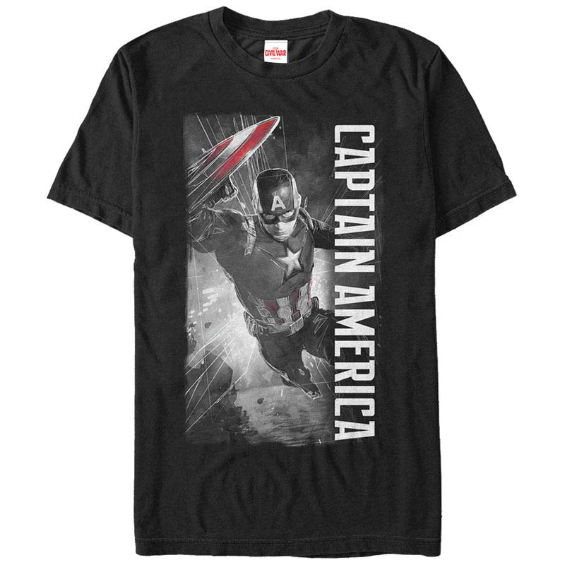 Captain America CAP Black Mens T-Shirt
