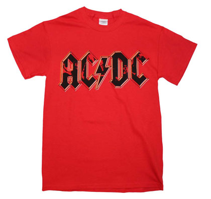 AC/DC Men's Red Photo Logo T-Shirt