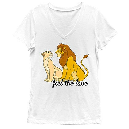 Disney Lion King Feel The Love White Juniors V Neck T-Shirt
