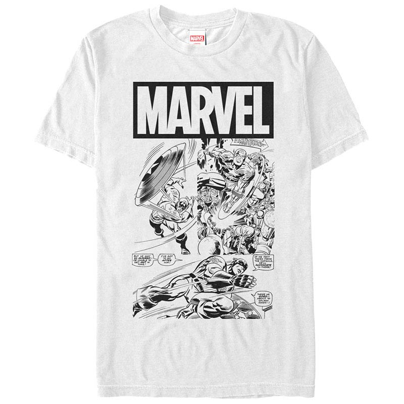 Captain America Black And White Cap White Mens T-Shirt