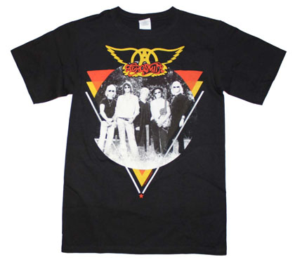 Aerosmith Men's Black Band Photo Tee Shirt