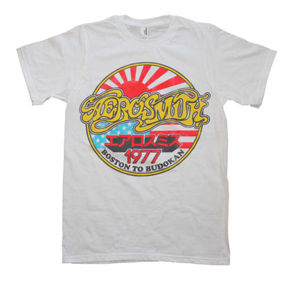 Aerosmith White Vintage Boston To Budokan Slim Fit T-Shirt