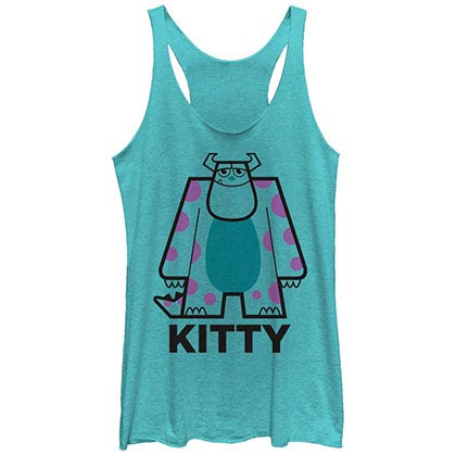 Disney Pixar Monsters Inc University Kitty Lines Blue Juniors Racerback Tank Top