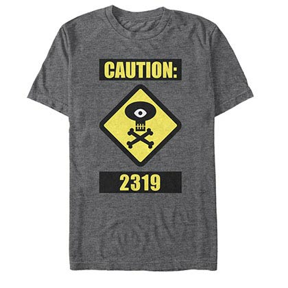 Disney Pixar Monsters Inc University Caution Gray T-Shirt