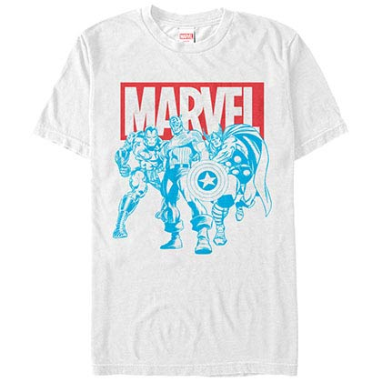 Avengers Red White Blue Avengers White Mens T-Shirt