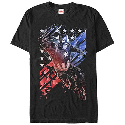Captain America Shatter Code Black Mens T-Shirt