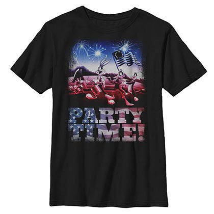 Looney Tunes Hey It's Partytime Black Youth T-Shirt