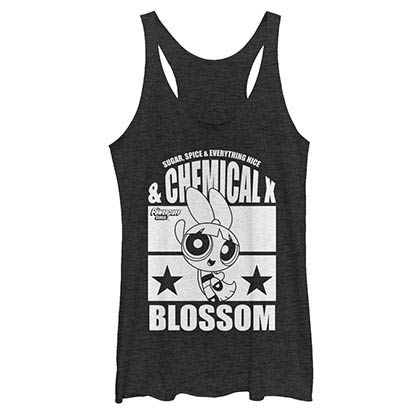 Power Puff Girls Chemical X Blossom Black Juniors Racerback Tank Top