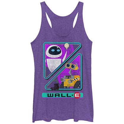 Disney Pixar Wall E Walle And Eve Purple Juniors Racerback Tank Top